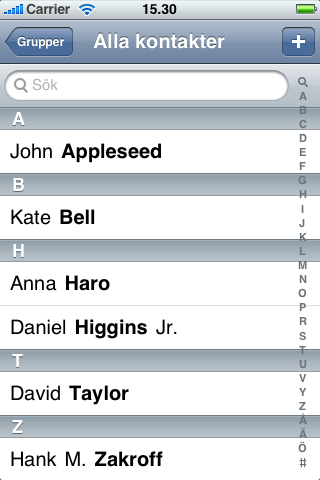 iPhone 2.1 Contacts localized in Swedish