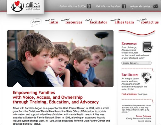 Allies with Families homepage